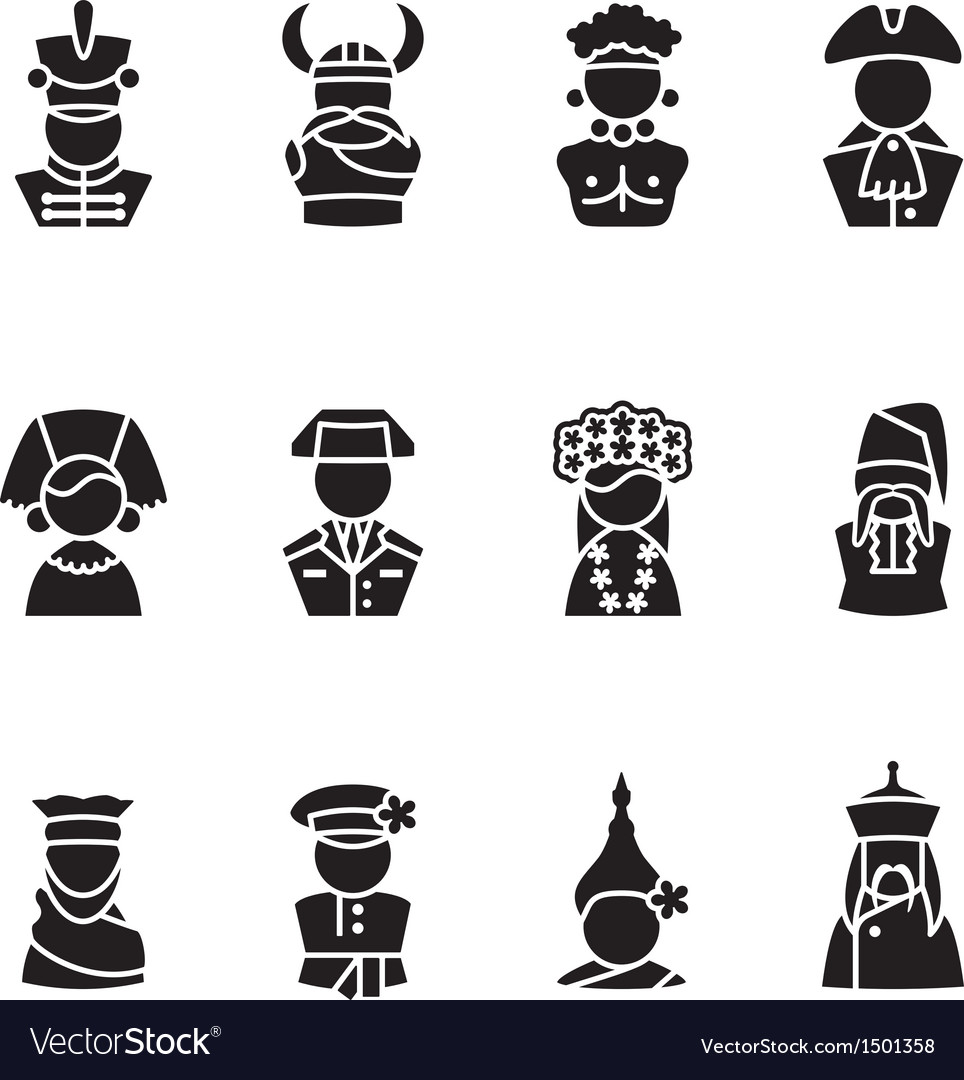 Twelve human black silhouette icons isolated on wh vector | Price: 1 Credit (USD $1)