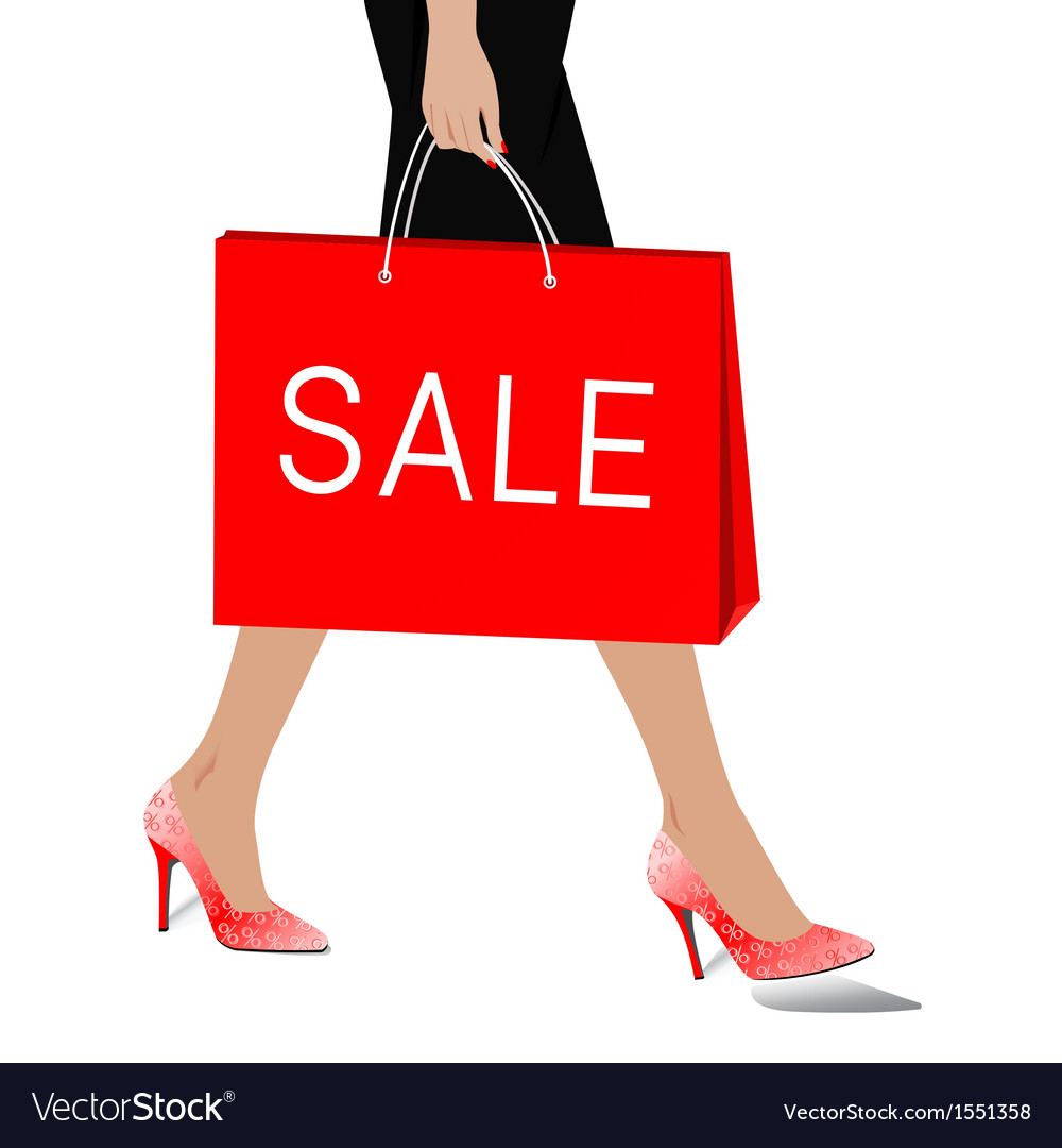 Woman with package sale vector | Price: 1 Credit (USD $1)
