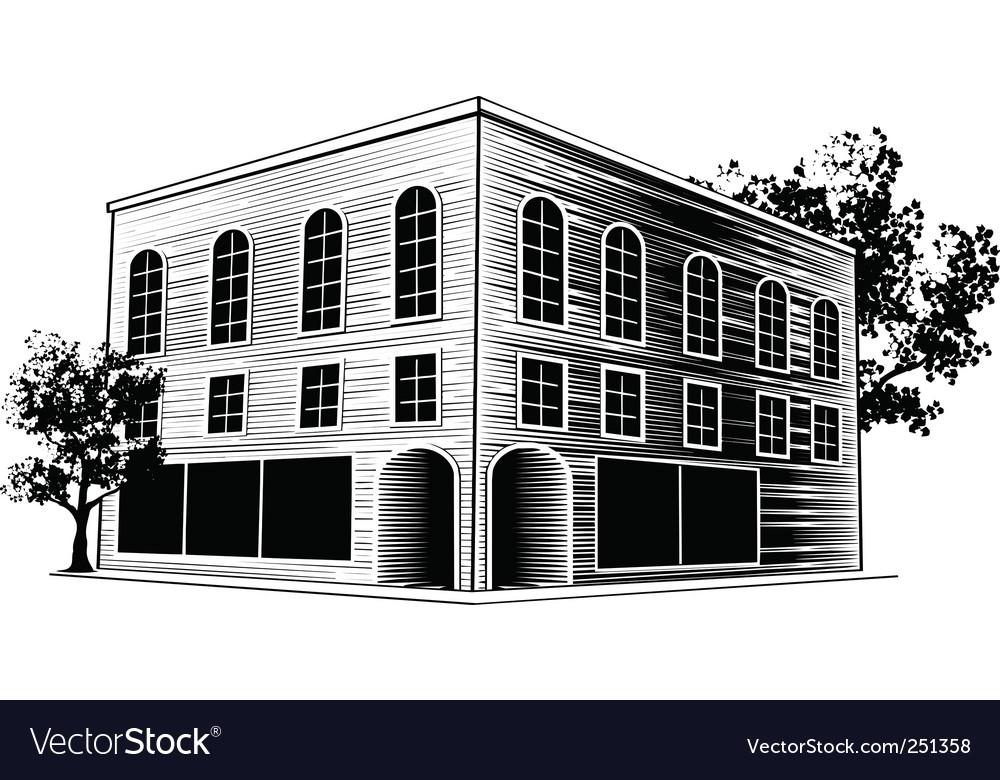 Woodcut building vector | Price: 1 Credit (USD $1)