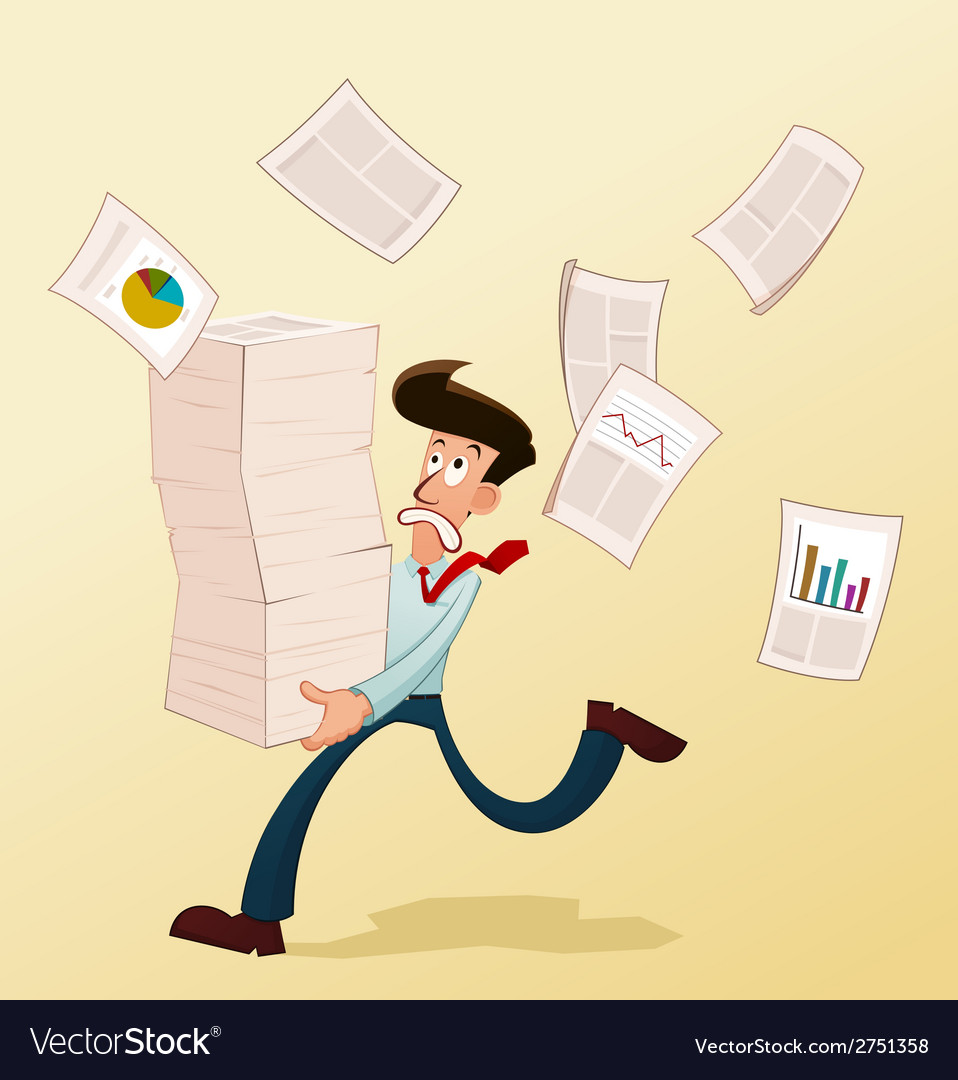 Young worker and documents vector | Price: 1 Credit (USD $1)