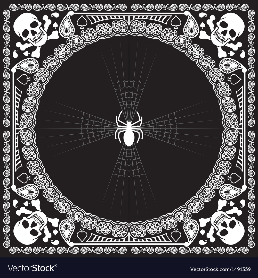 Bandana pattern skull and spider vector | Price: 1 Credit (USD $1)