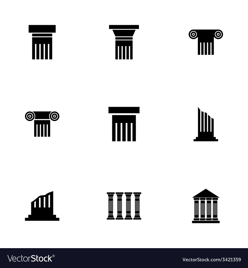 Black column icon set vector | Price: 1 Credit (USD $1)