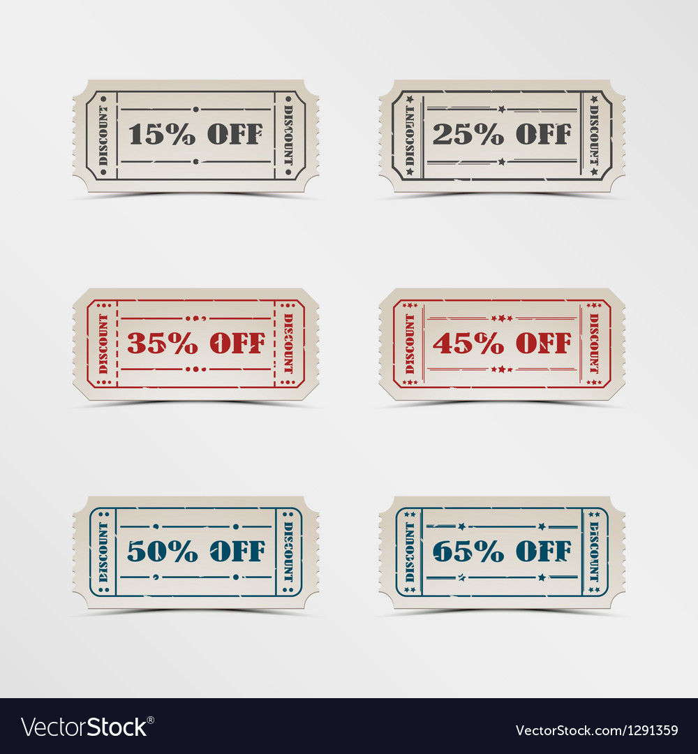 Collection discount vintage ticket vector | Price: 1 Credit (USD $1)