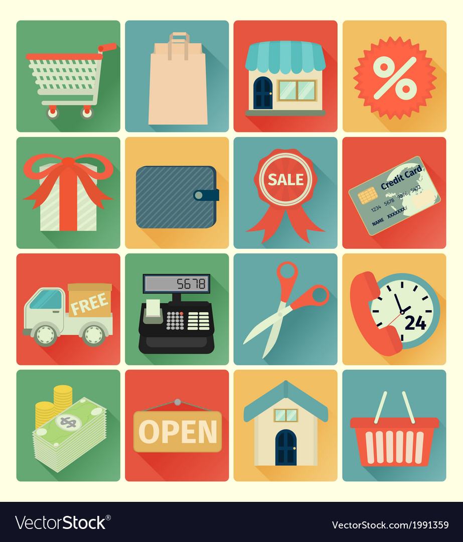 Flat icons shopping set vector | Price: 1 Credit (USD $1)