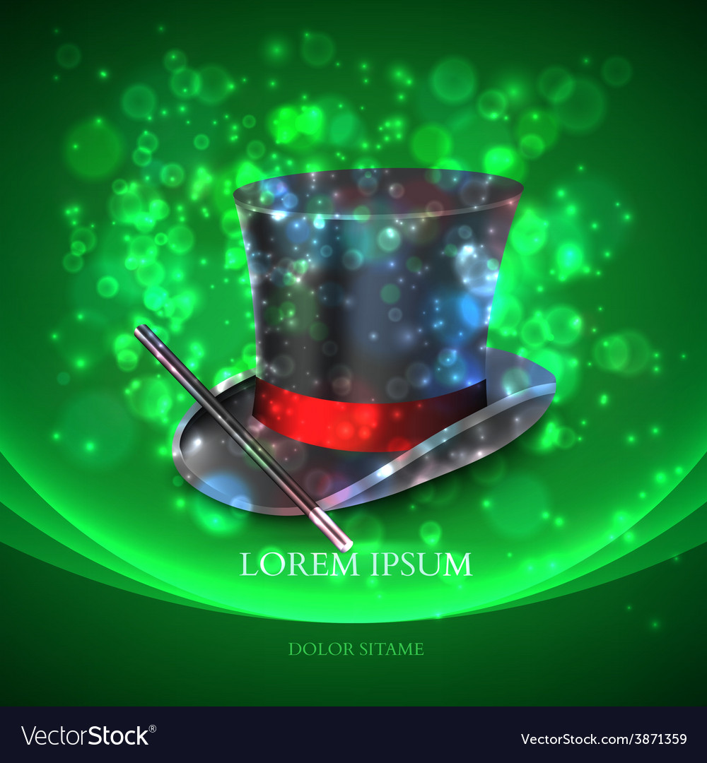Magician top hat with magic particles vector   Price: 1 Credit (USD $1)