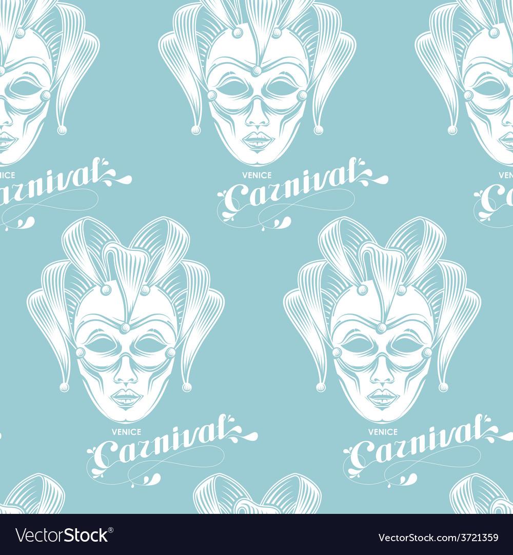 Venetian carnival mask seamless pattern vector | Price: 1 Credit (USD $1)