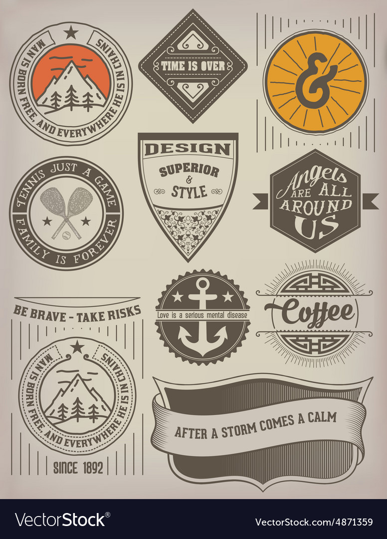 Vintage insignias logotypes set vector