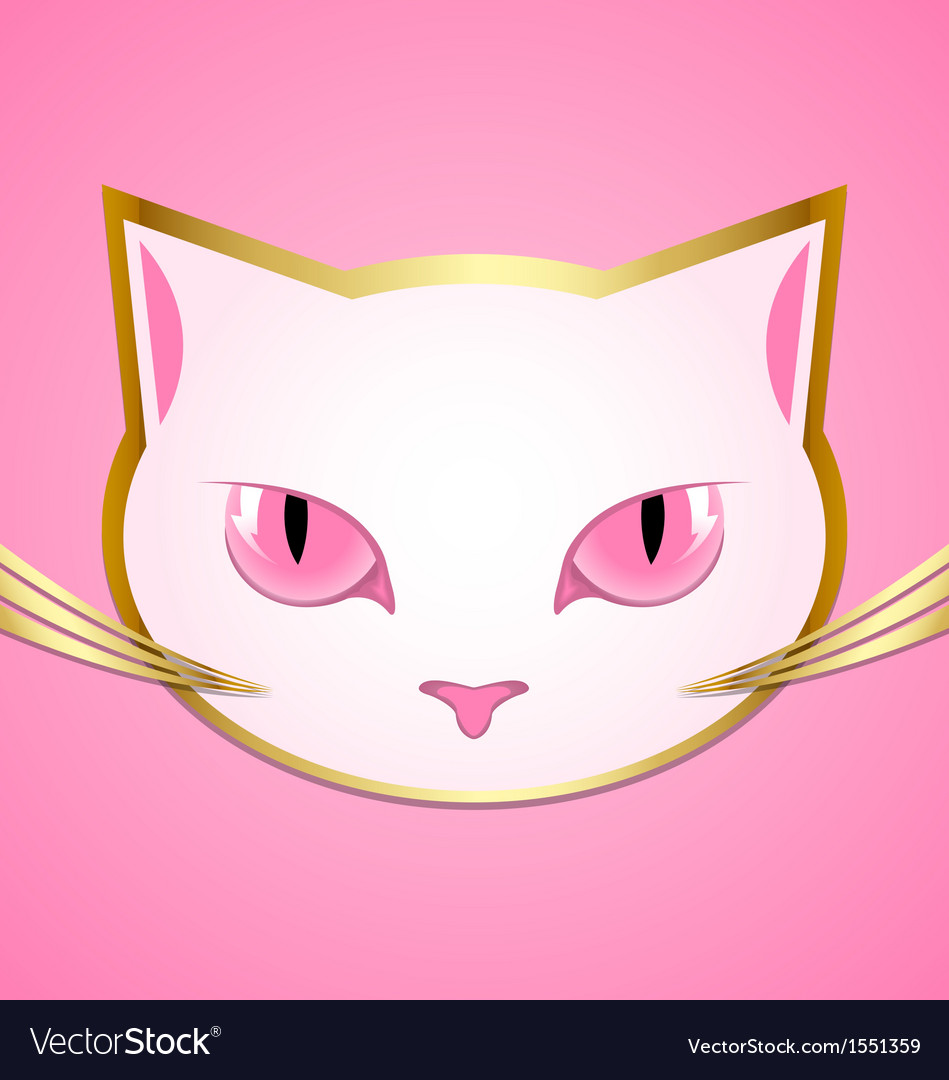 White cat head vector | Price: 1 Credit (USD $1)