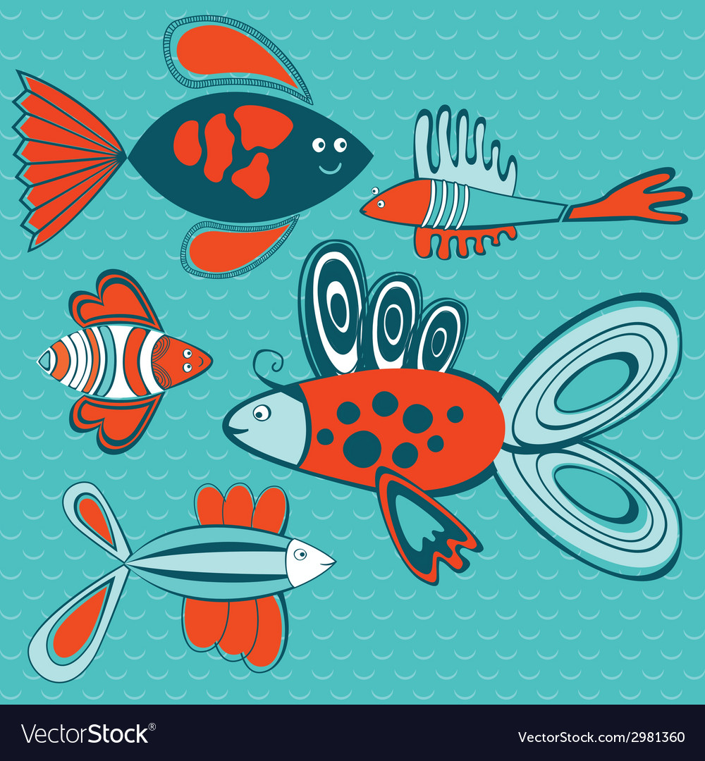 Abstract fish pattern vector | Price: 1 Credit (USD $1)