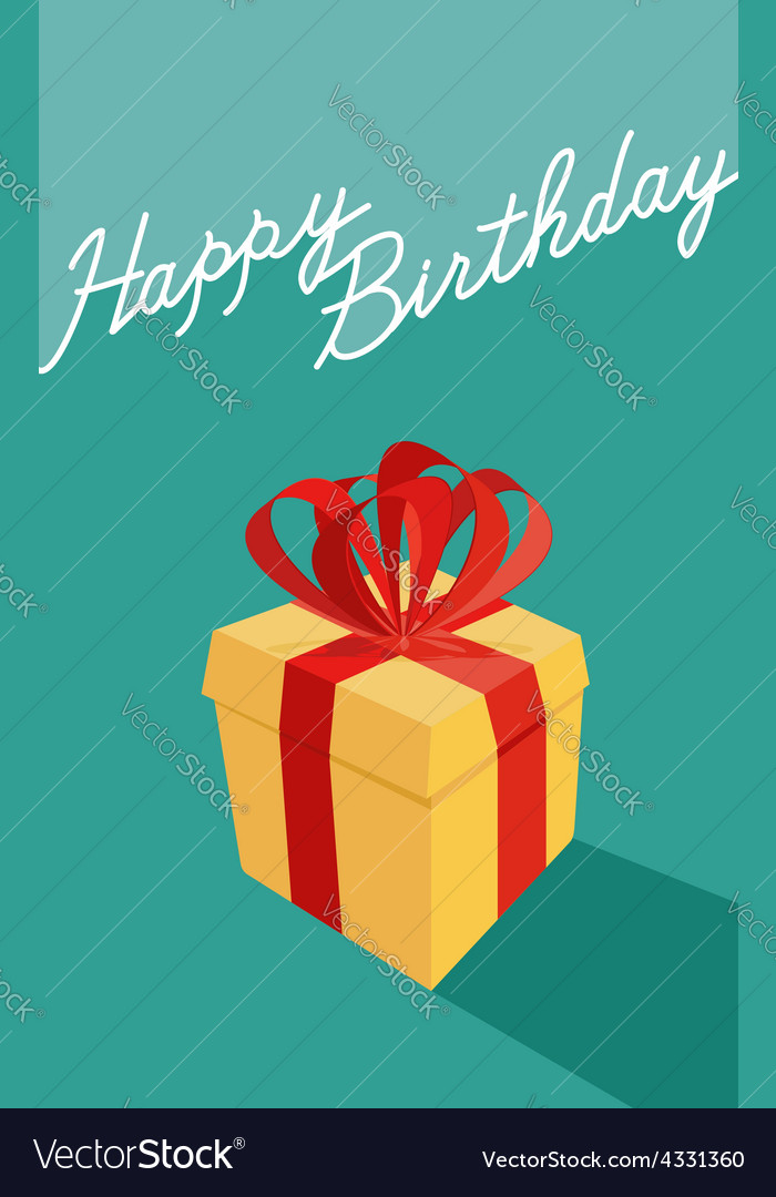 Birthday cartoon gift box happy birthday card vector | Price: 1 Credit (USD $1)
