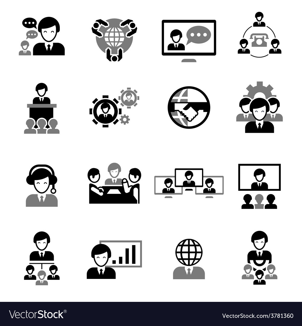 Business meeting icons black vector | Price: 1 Credit (USD $1)