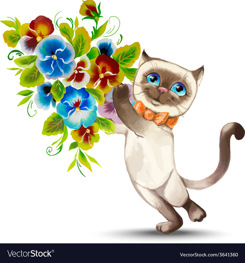 Cat with a bouquet of flowers vector | Price: 1 Credit (USD $1)