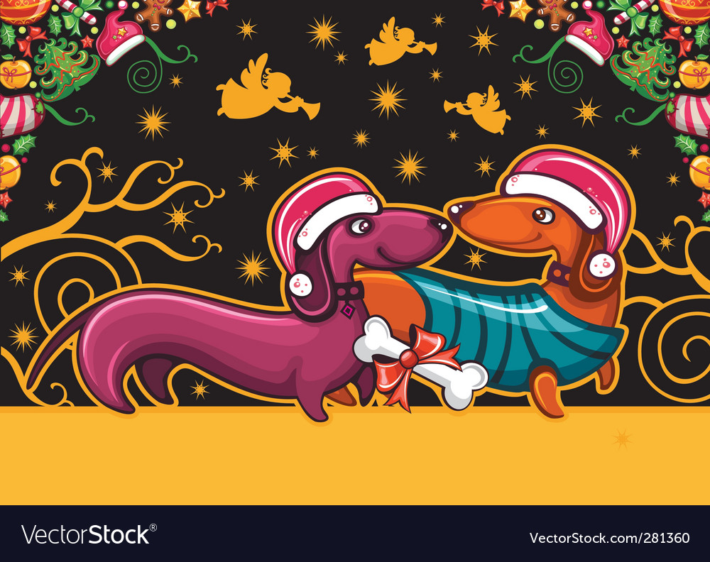 Christmas dachshunds vector