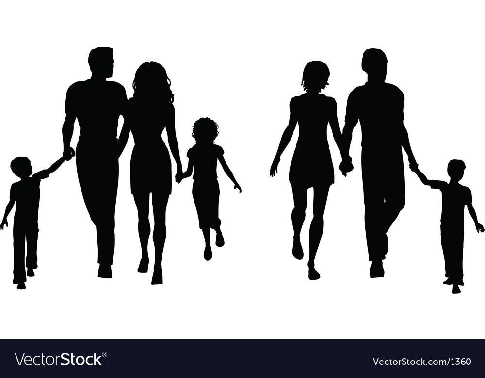 Families silhouettes vector | Price: 1 Credit (USD $1)