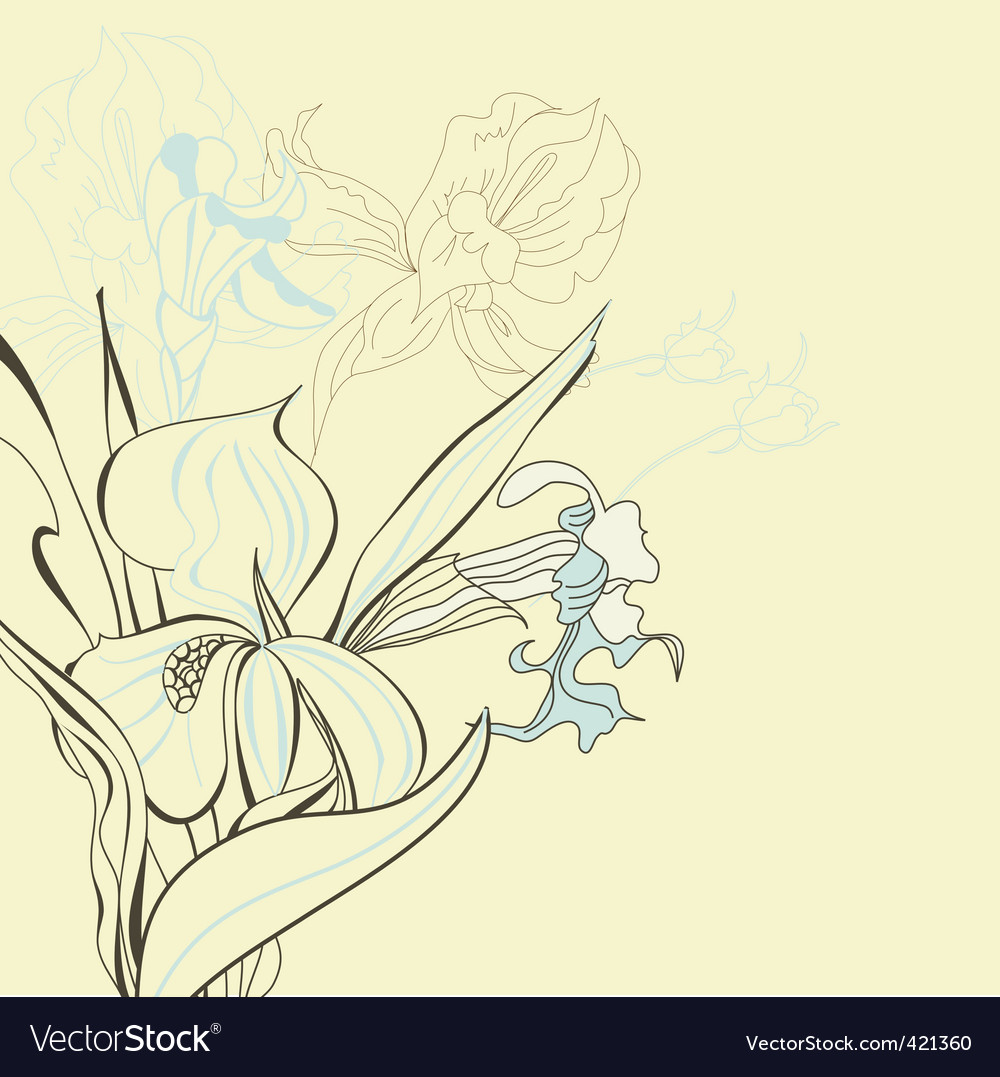 Floral background with iris flowers vector | Price: 1 Credit (USD $1)
