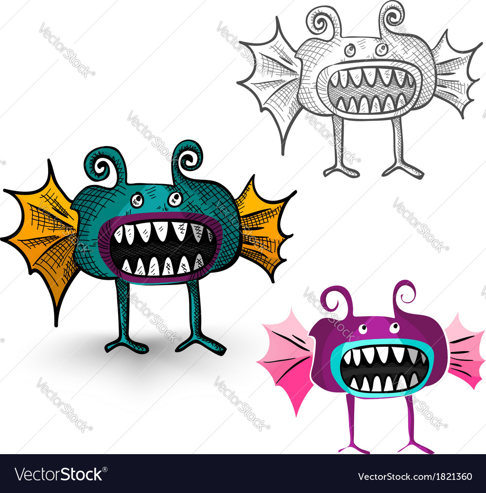 Halloween monsters isolated spooky creatures set vector | Price: 1 Credit (USD $1)