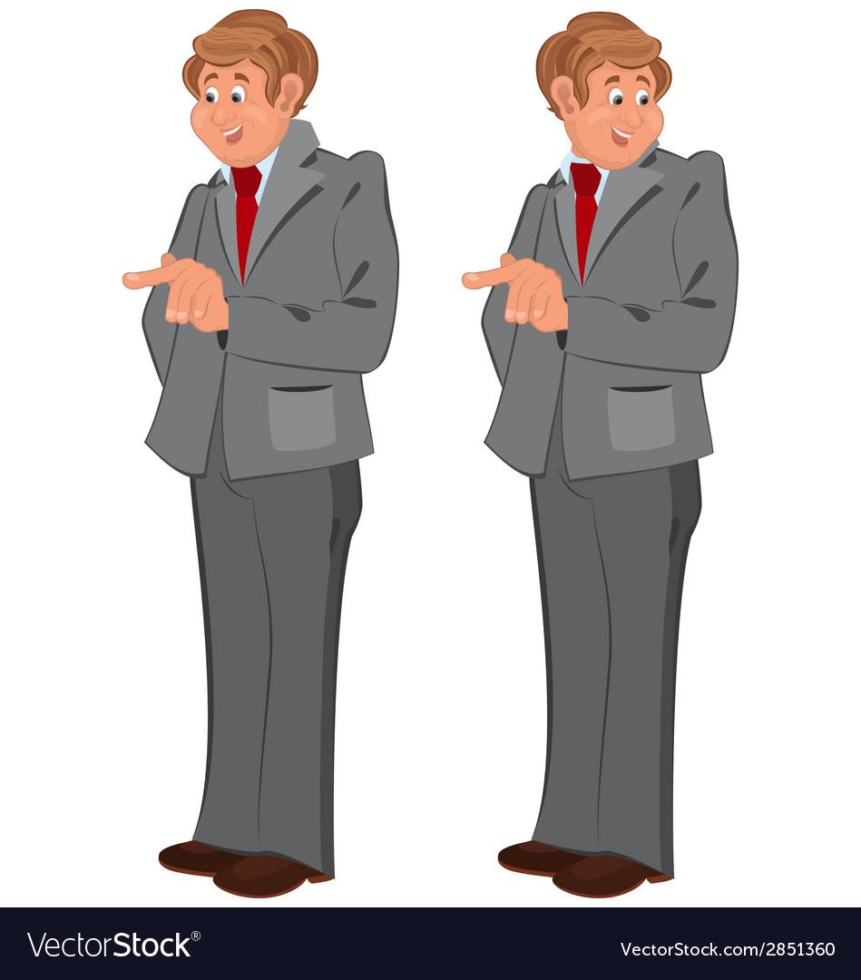Happy cartoon man standing in gray suit vector | Price: 1 Credit (USD $1)