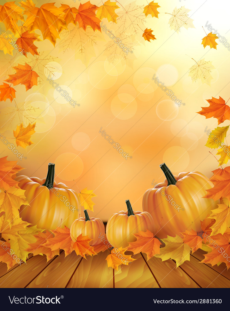 Nature background with autumn leaves and wooden vector | Price: 1 Credit (USD $1)
