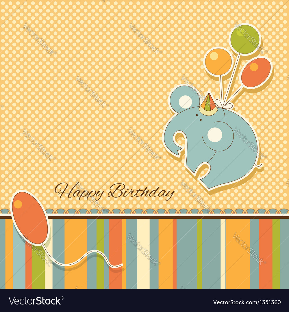 New baby announcement vintage card with elephant vector | Price: 1 Credit (USD $1)