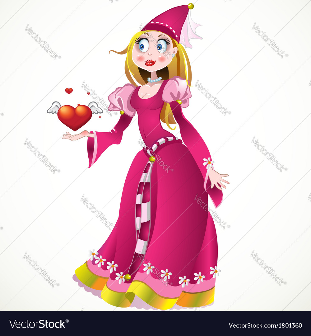 Princess in pink dress giving heart and love vector   Price: 3 Credit (USD $3)
