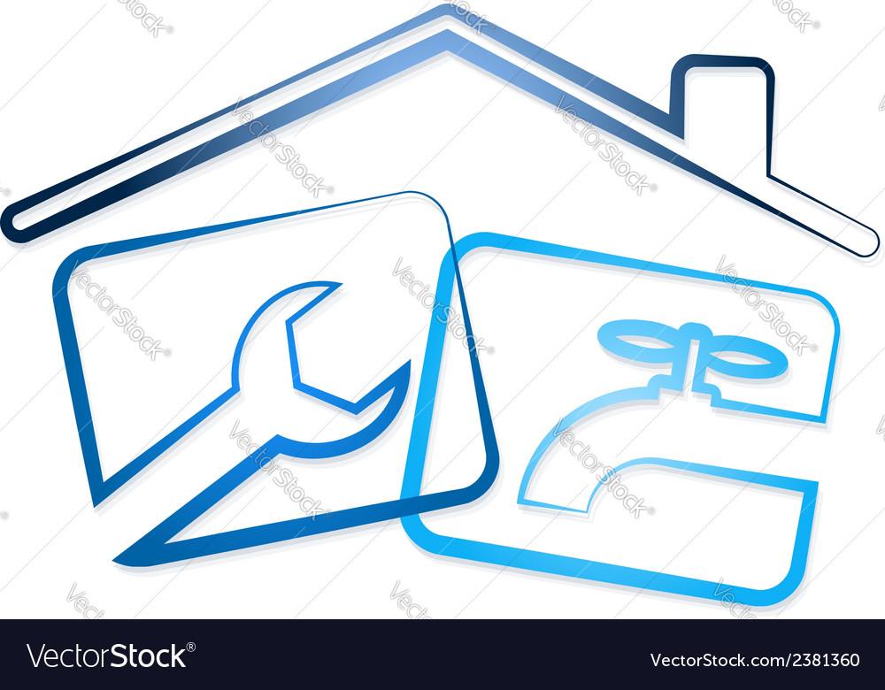 Repair plumbing in the house vector | Price: 1 Credit (USD $1)