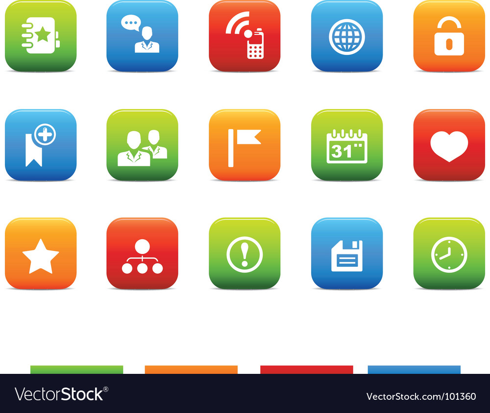 Social icons 4 color set vector | Price: 1 Credit (USD $1)
