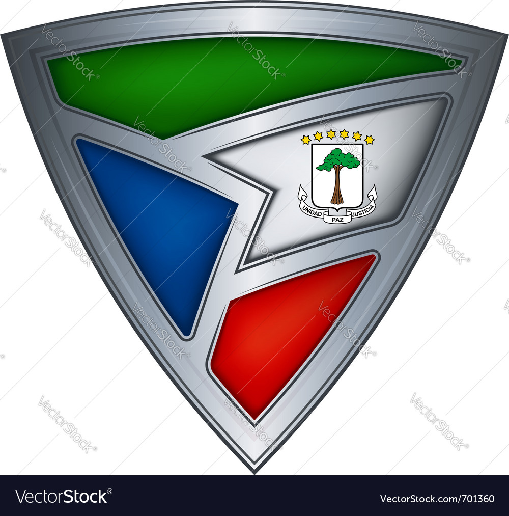 Steel shield with flag equatorial guinea vector | Price: 1 Credit (USD $1)