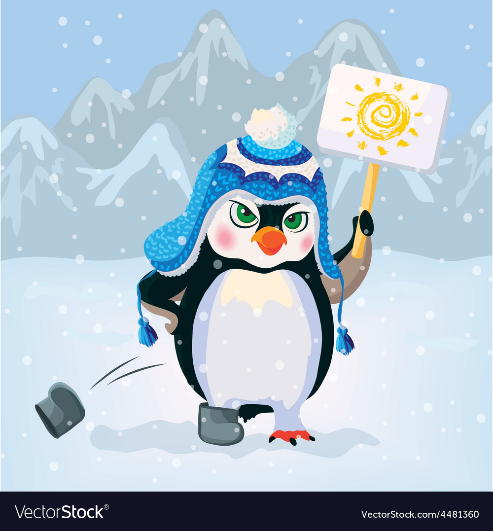 Unhappy penguin holding a sign vector | Price: 3 Credit (USD $3)