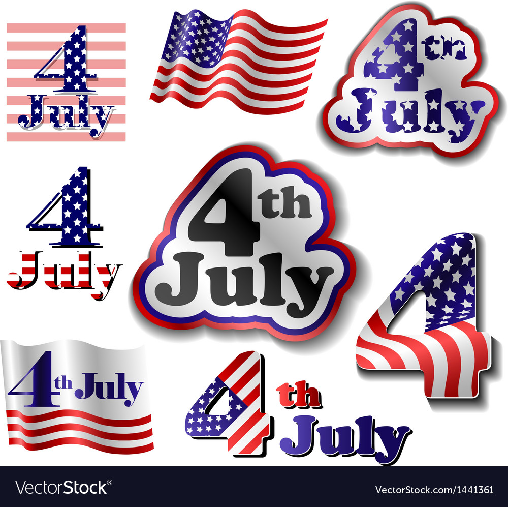 4 july sticker set vector | Price: 1 Credit (USD $1)