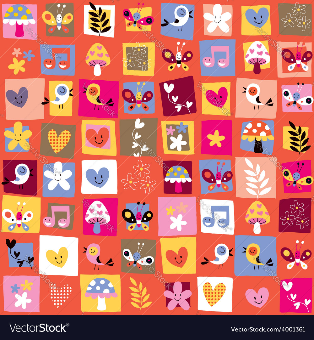 Cute flowers birds hearts pattern 6 vector | Price: 1 Credit (USD $1)