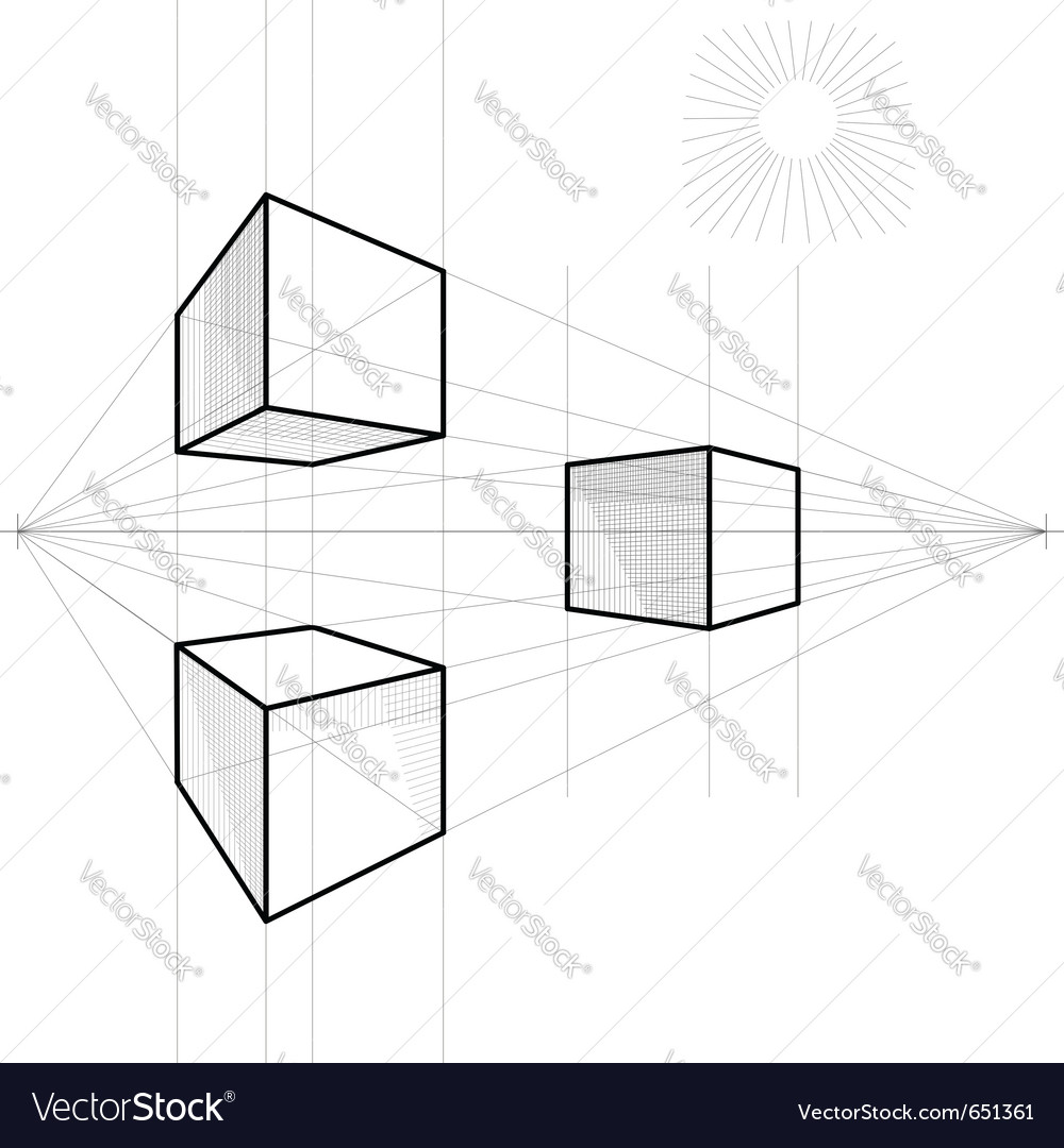 Drawing of a cube vector | Price: 1 Credit (USD $1)
