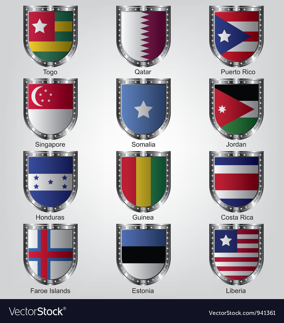Flags shield collection vector | Price: 1 Credit (USD $1)