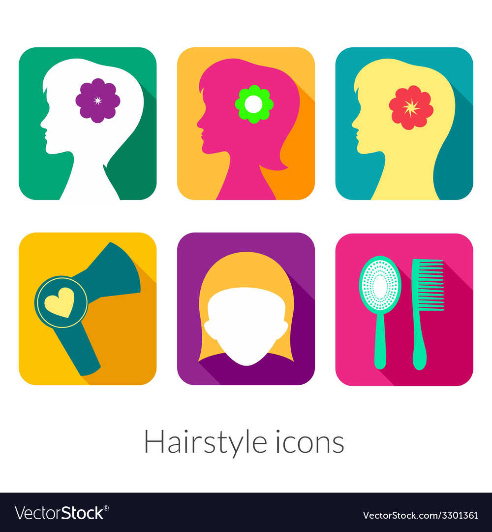 Hairstyle rectangular icons with rounded corners vector | Price: 1 Credit (USD $1)
