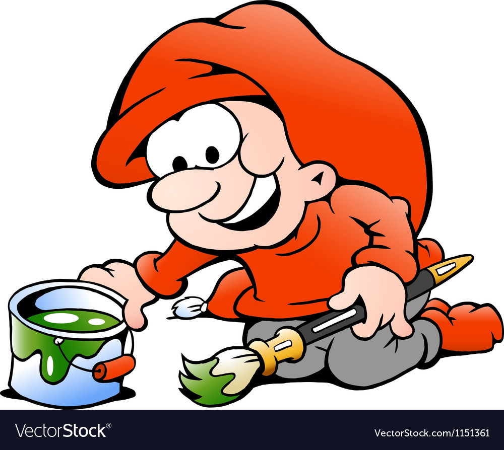 Hand-drawn of an elf with paint bucket and vector | Price: 1 Credit (USD $1)