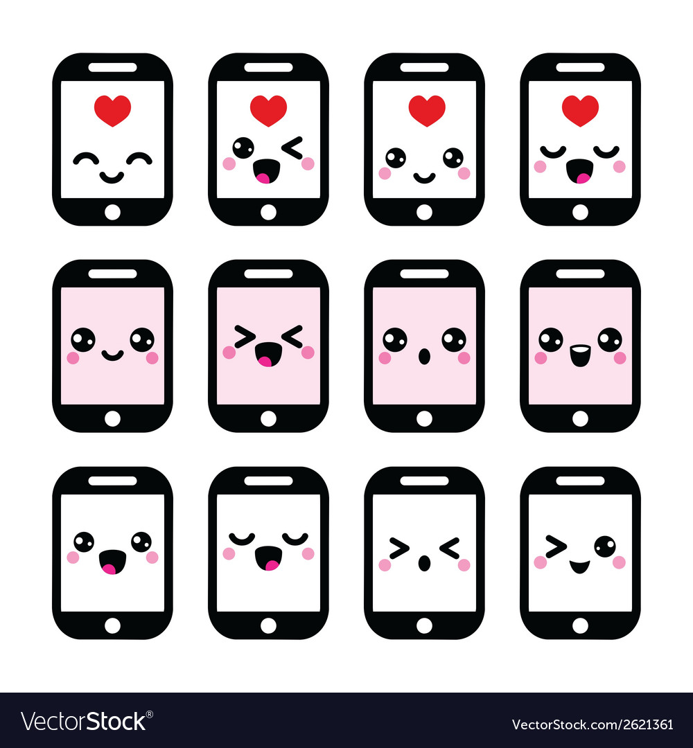 Japanese cute kawaii character - phone icons vector | Price: 1 Credit (USD $1)