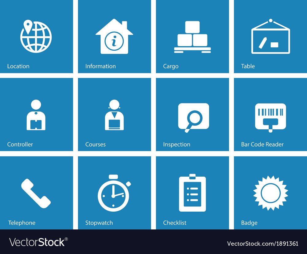 Logistics icons on blue background vector | Price: 1 Credit (USD $1)