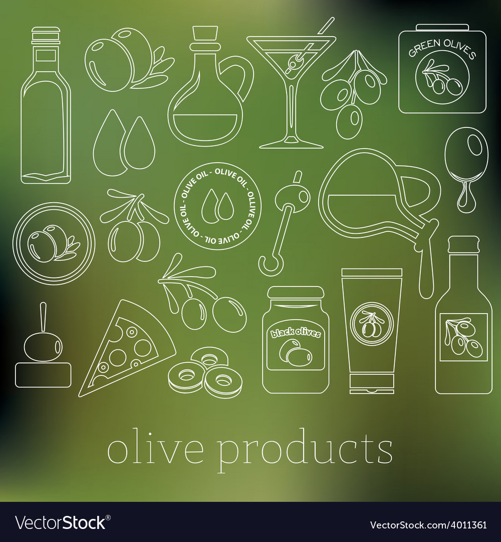 Olives outline icons vector | Price: 1 Credit (USD $1)