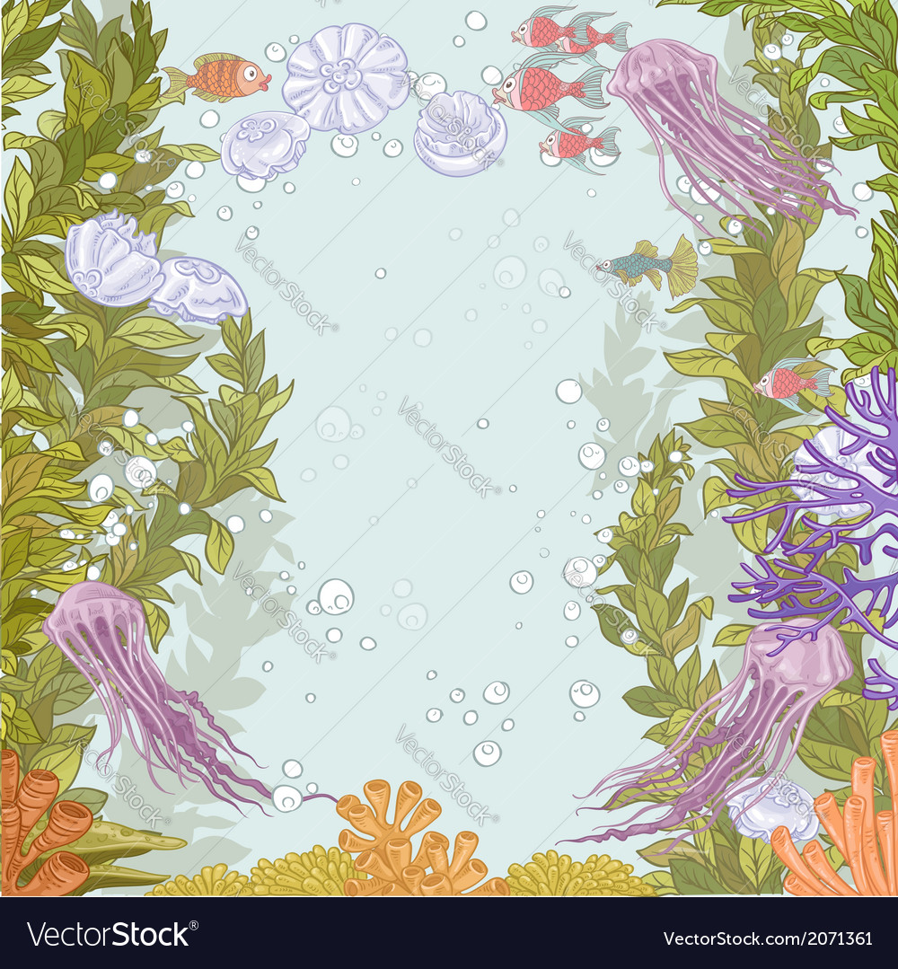 Underwater world with marine seaweed vector | Price: 3 Credit (USD $3)