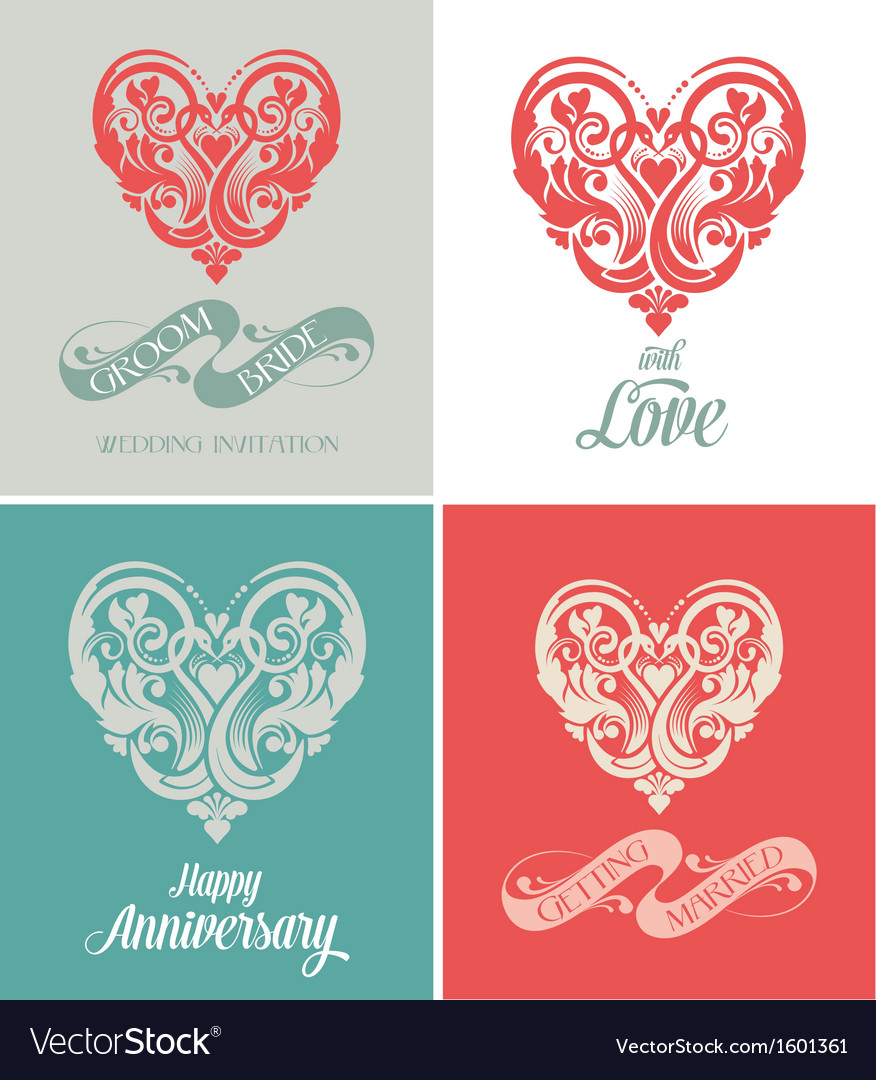 Wedding and anniversary greeting card vector | Price: 1 Credit (USD $1)