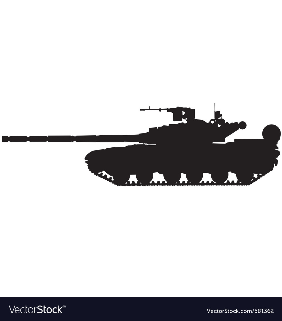 Battle tank silhouette vector | Price: 1 Credit (USD $1)