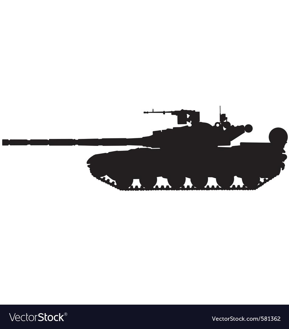 Battle tank silhouette vector | Price: 1 Credit (USD $1)
