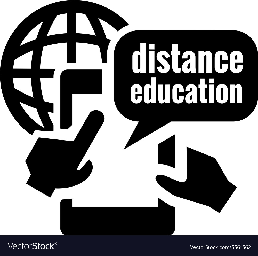 Black distance education icon vector | Price: 1 Credit (USD $1)