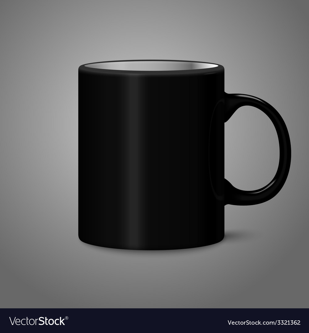 Blank black photo realistic isolated on gray cup vector | Price: 1 Credit (USD $1)