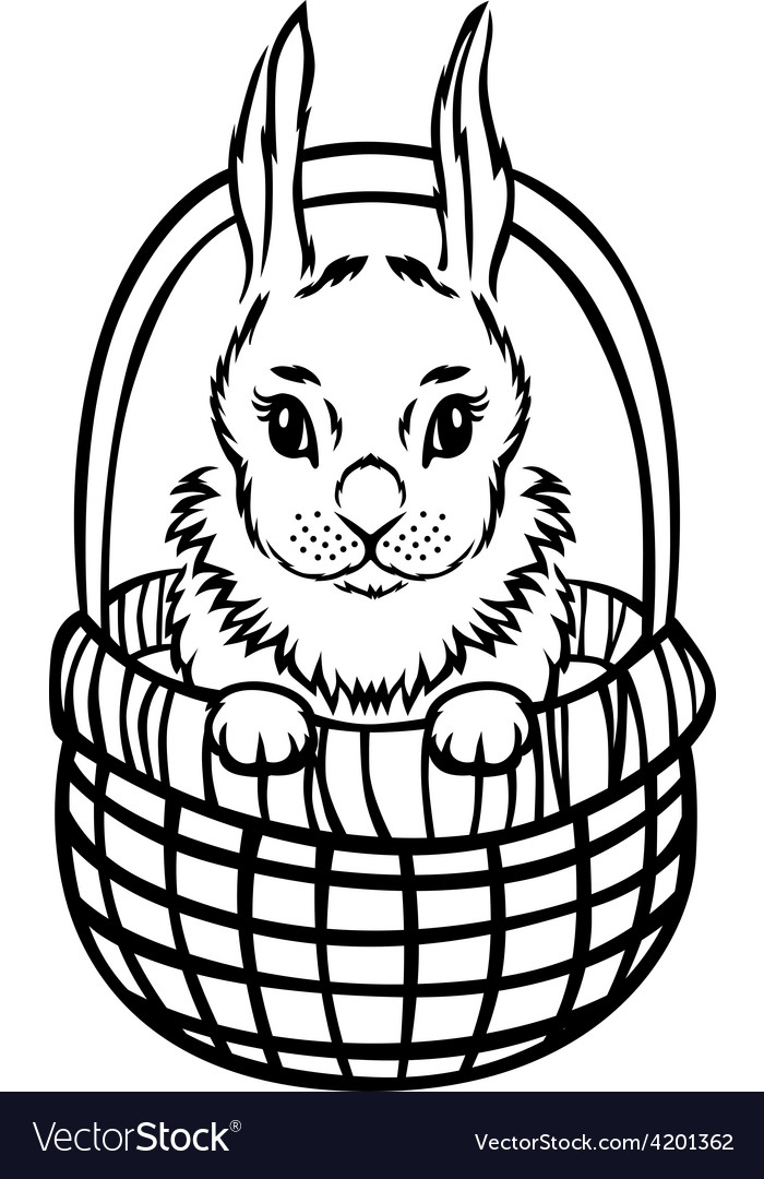 Bunny basket vector | Price: 1 Credit (USD $1)