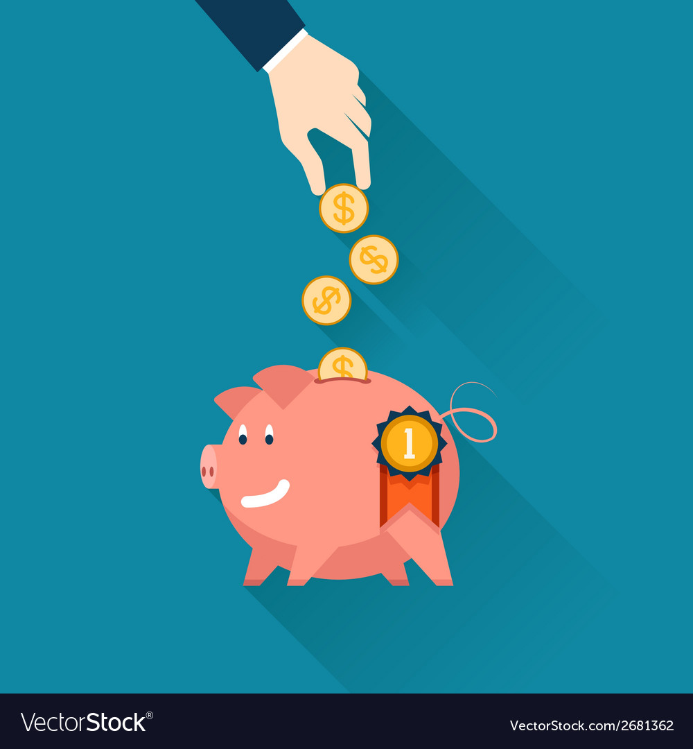 Businessman dropping coins into a piggy bank vector | Price: 1 Credit (USD $1)
