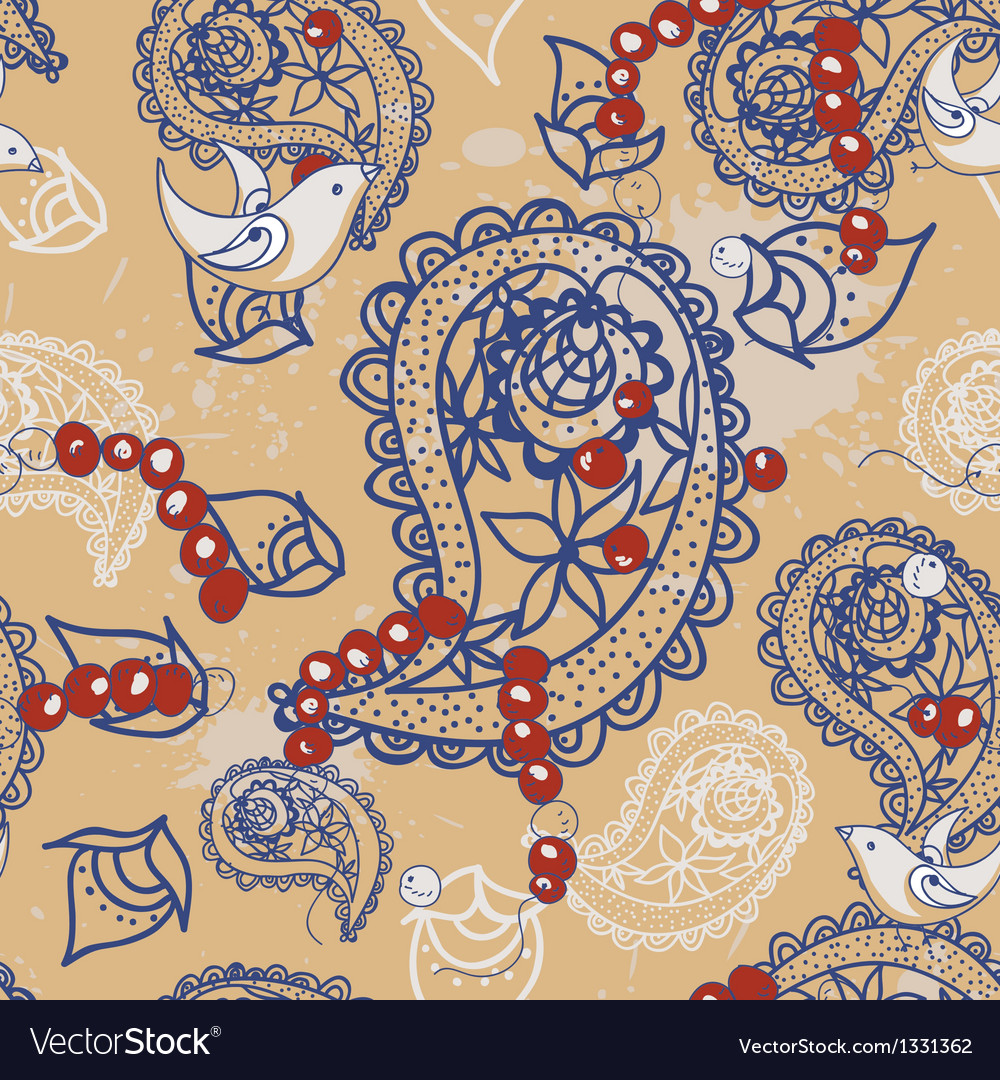 Cartoon pattern with birds beads and paisley vector | Price: 1 Credit (USD $1)