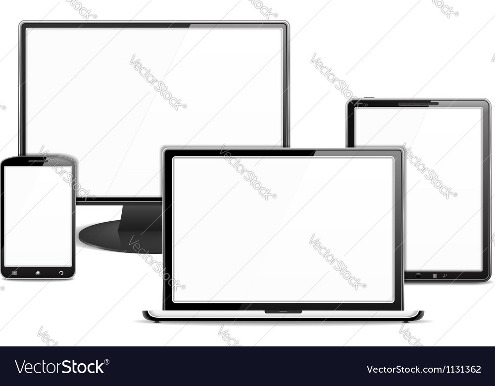 Computer monitor laptop tablet pc and smart phone vector | Price: 1 Credit (USD $1)