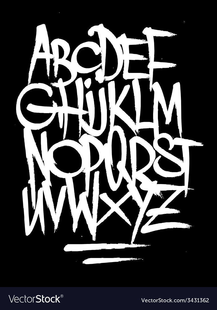 Hand style graffiti font alphabet vector | Price: 1 Credit (USD $1)