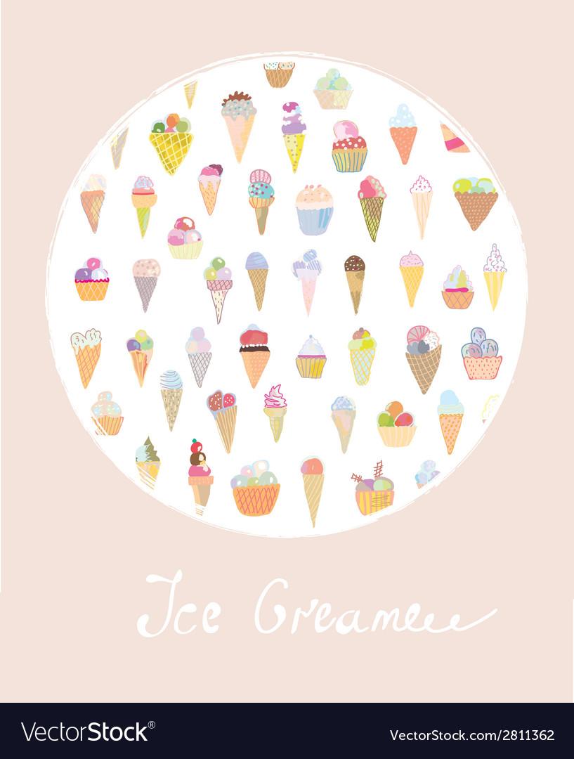 Ice cream cute card vector | Price: 1 Credit (USD $1)