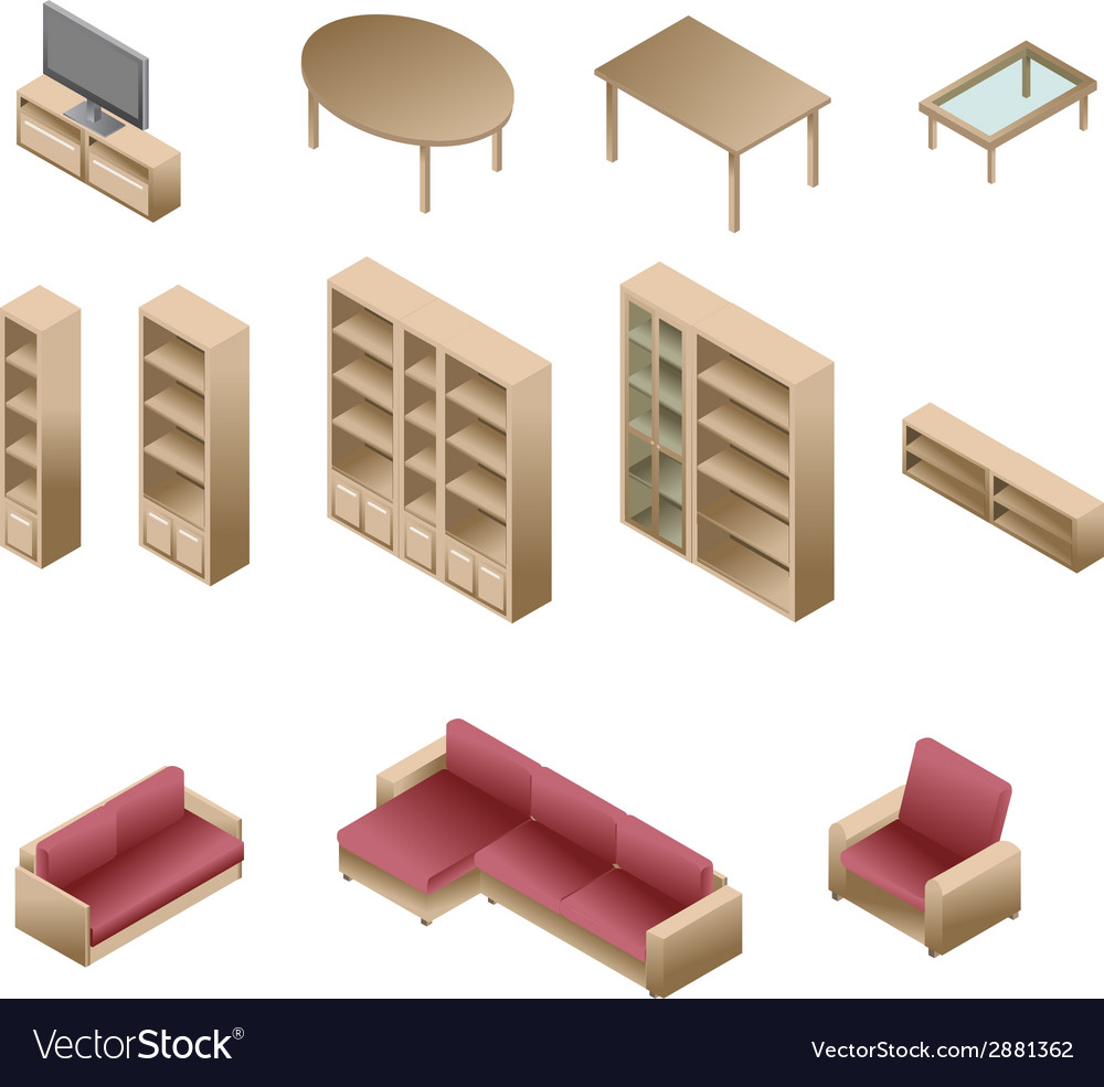 Isometric wooden furniture for living room vector | Price: 1 Credit (USD $1)